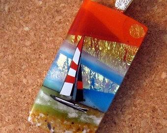 Dichroic  Pendant - Fused Glass Pendant - Sailboat Jewelry - Glass Pendant - Fused Glass Jewelry