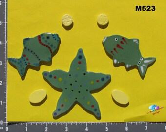 Fish and Shell  tiles- Tiles are Kiln Fired, Handmade, and Ceramic for use in your Mosaic Design M523