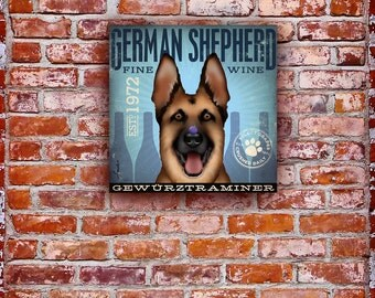 German Shepherd Wine Company original graphic illustration on gallery wrapped canvas by Stephen Fowler
