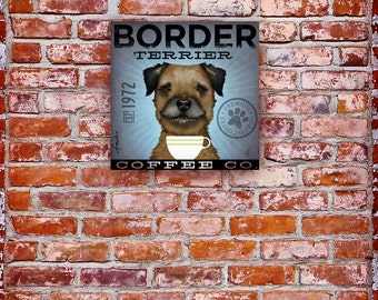 Border Terrier Coffee Company dog original graphic illustration on gallery wrapped canvas by Stephen Fowler