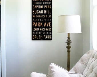 Detroit Michigan neighborhoods typography graphic art on gallery wrapped canvas by Stephen Fowler