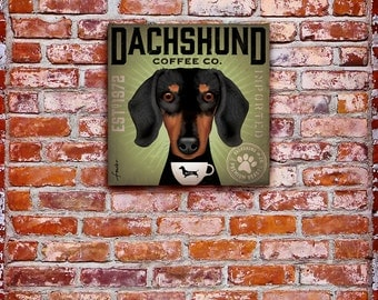 Dachshund Coffee Company illustration graphic art on gallery wrapped canvas by Stephen Fowler geministudio