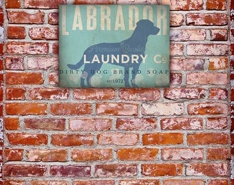 Labrador Laundry Company illustration graphic art on gallery wrapped canvas by stephen fowler