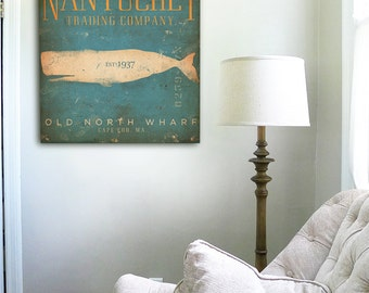 Nantucket Trading Company Whale original graphic art on gallery wrapped canvas by stephen fowler