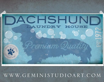 Dachshund laundry house laundry room artwork giclee archival signed artists print by Stephen Fowler Pick A Size