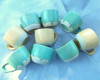 30s 40s Pottery Coffee Cups Set of Nine 9 Seconds Pastel Greens and Yellows have Personality