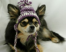 Dog hat crocheted, Purple and white, wool, XS, S, M