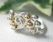 Small Size Ring for Tiny Fingers Pinky Ring Wire Wrapped Mixed Metal Sterling Silver and Gold Filled Minuet Fingerling