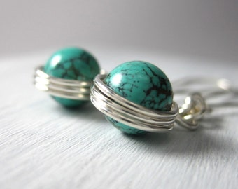 Turquoise Earrings Genuine Turquoise Wire Wrapped Sterling Silver Saturn's Rings Dangle Earrings