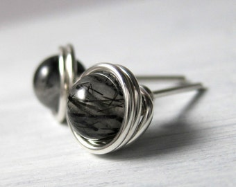 Stud Earrings 6mm Wire Wrapped Black Rutilated Quartz and Sterling Silver -- Simply Studs