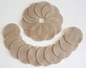 Reusable Cotton Rounds Set of 20 Makeup Remover Pads Tan Washable, Ready to ship