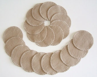Reusable Cotton Rounds Set of 20 Makeup Remover Pads Tan Washable