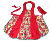 Red Apron, Full Apron, Vintage 1950s, Red and Floral Print, Cotton, Handmade Over The Head Style, Adult Size, Vintage Kitchen