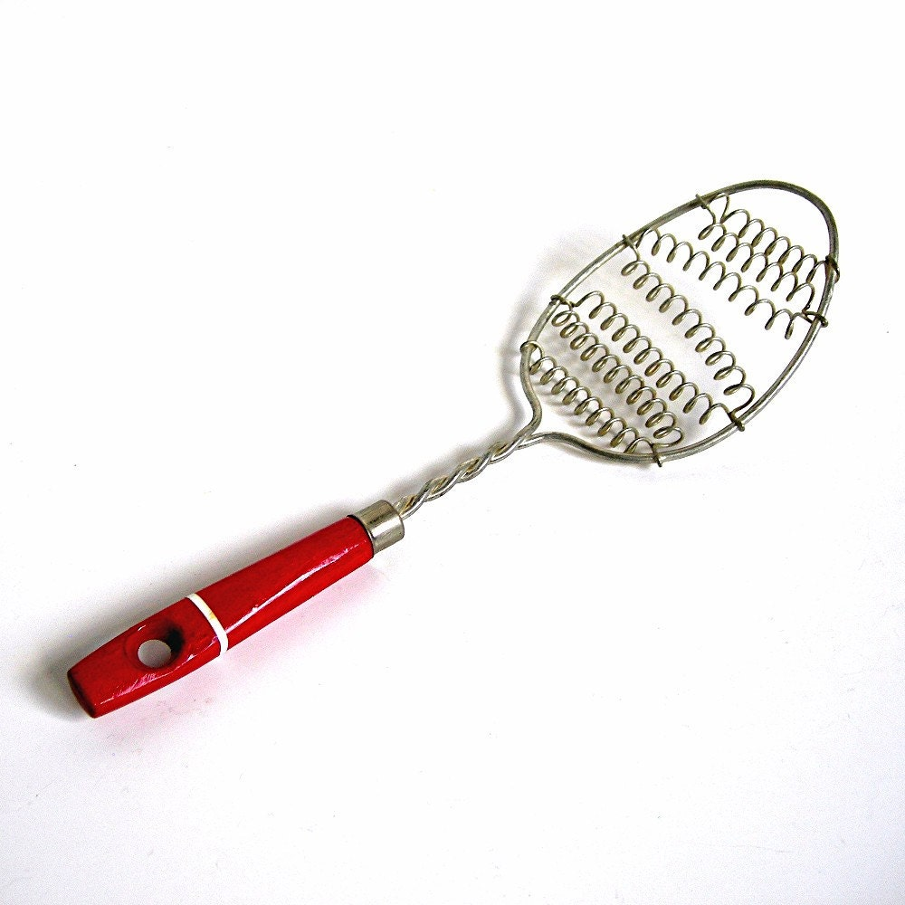 Vintage Red Handle Wire Whisk Whip Or Strainer Spoon Retro
