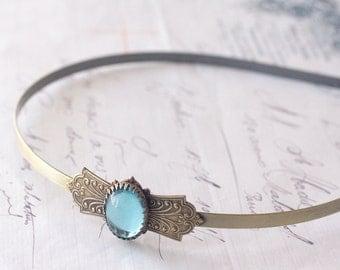 Antique bridal headband aquamarine brass vintage style aqua glass jewel bridal bronze wedding hair accessory