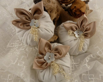 Linen and gold silk Petaled mini lavender cushions - set of 3