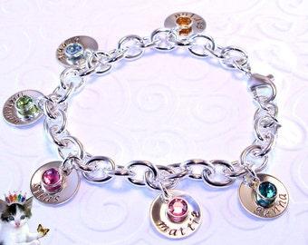 Hand Stamped Charm Bracelet Sterling Silver Disk Swarovski Birthstone Mothers Personalized Jewelry Mom Grandmother Keepsake Bracelet 6 charm