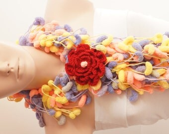 SALE-Mulberry Scarf - Pompom Scarf- Cocoon Scarf with lovely crochet flower brooch