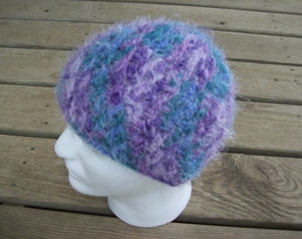 Fuzzy, Multi Colored,Crocheted,Hat,Women,Teens,Gift,Lavender,Dark Green,Dark Teal,Adult