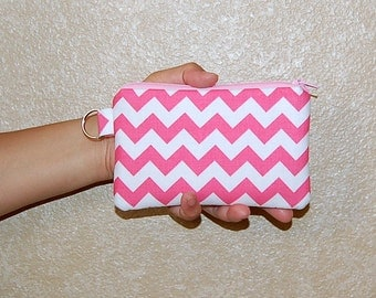 Chevron (Hot Pink) - iPhone 6s, iPhone 6, iPhone 5, iPhone 4, Samsung Galaxy S5/S6 - Cell Phone Gadget Zipper Pouch / Coin Purse