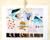 Illustration, Sharks, Animal masks, Food Chain, Quirky, Art Print on Paper