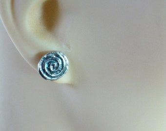 Silver Stud Earrings, Small Studs, Small earrings, Silver Post Earrings, Earrings Sterling Silver, Silver Studs, Spiral Stud Earrings