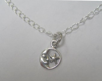 Sterling silver moon and star pendant- free shipping