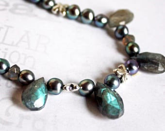 Twilight Kisses Labradorite and Pearl Necklace,  Freshwater Pearl and Labradorite Necklace, Grey Pearl Necklace, Flashy Labradorite Necklace