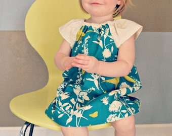 Dress - teal blue bird butterfly baby girl outfit toddler Spring   baby shower gift first birthday  photo shoot summer wedding