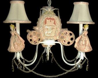 Pink Princess Coach Chandelier Light - Princess Room Decor -  Princess Carriage Light