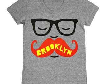 SALE Mustache - Womens Brooklyn New York NYC Retro Vintage Beard Hipster Glasses Nerd Geek Cute Gray Adorable Girls T-shirt Tee Shirt Tshirt