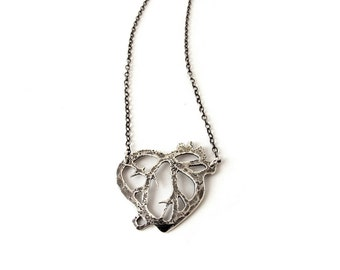 Anatomical heart necklace // sterling silver