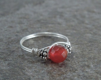 Faceted Carnelian Sterling Silver Bali Bead Ring - Any Size