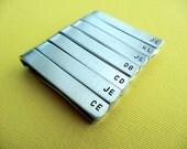Set of 7 Personalized Tiebars - Initials - Monogram - Custom Tie Clip