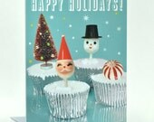 Holiday Cupcakes Greeting Card