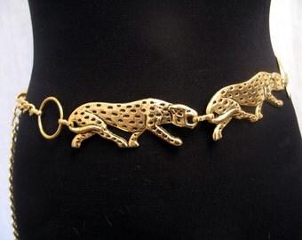 Vintage 1980's Gold Tone Metal Leopards Chain Belt