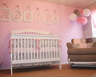 Custom Grey Damask with Pink Accents 4-Piece Complete Boutique Crib Nursery Bedding Set