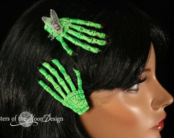 Zombie Skeleton hands clips pair green flys rockabilly creep show horror halloween costume barrette -- Sisters of the Moon