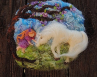 "Art - ""My Friend""- Made to order -- Needle Felted Wall hanging / sculptural wool painting Waldorf inspired"