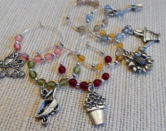Garden Time Czech Glass Silver Colored Wine Charm Set of 6
