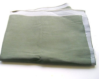 """Olive Green Heavy Jean Cotton Fabric  Early 1980s 52"""" X 46"""", Traditional Jean Weave, Upholstery Cushions Fabric."""