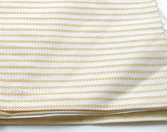 "Vintage Cotton, Vintage Fabric, Yellow White Yardage, Children Clothes, Doll Fabric, High Quality, Cotton Fabric, 1970s 50"" X 44""."