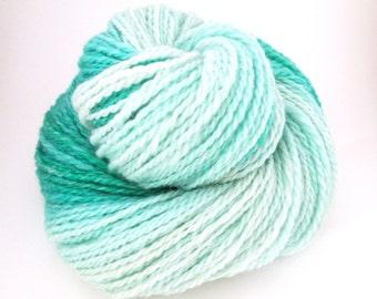 Handspun Yarn – Hand Dyed Polwarth Wool – 2 Ply Sport Weight Yarn – White/Aqua Gradient – 200 Yards