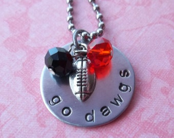Hand Stamped Georgia Dawgs Football Necklace