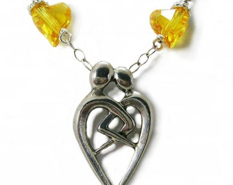 The Embrace - Pewter, Yellow Swarovski Hearts and  Sterling Silver Wire Wrapped Necklace