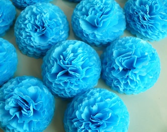 Button Mums Tissue Paper Flowers  Turquoise  Wedding, Bridal Shower, Baby Shower Decor