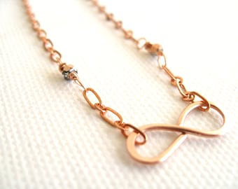 Rose Gold Infinity Necklace Spring Fashion Gift for her Under 50 Vitrine