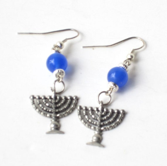 Jewish Earrings Menorah Blue Earrings