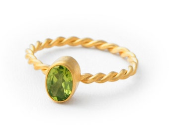 22K Gold Plated Green Peridot Ring, Stack Ring, 50% OFF, size 7.5