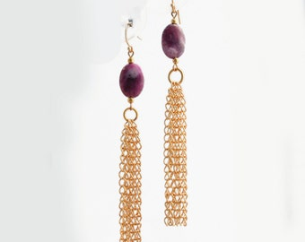 Purple Agate and Gold Chain Earrings